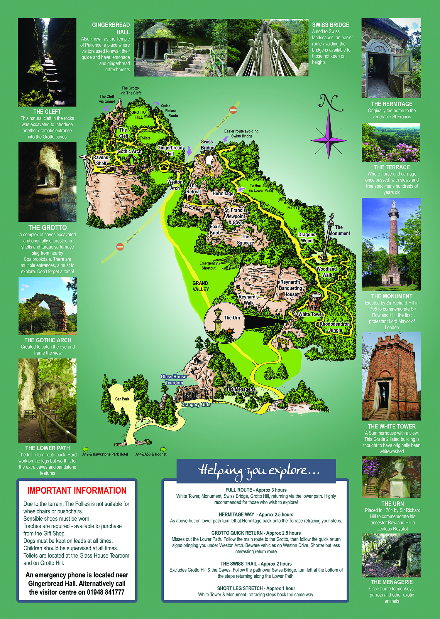 Map of Hawkstone Park Follies Shrewsbury Shropshire