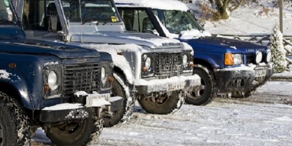 Landrovers in the snow at Hawkstone Park Follies