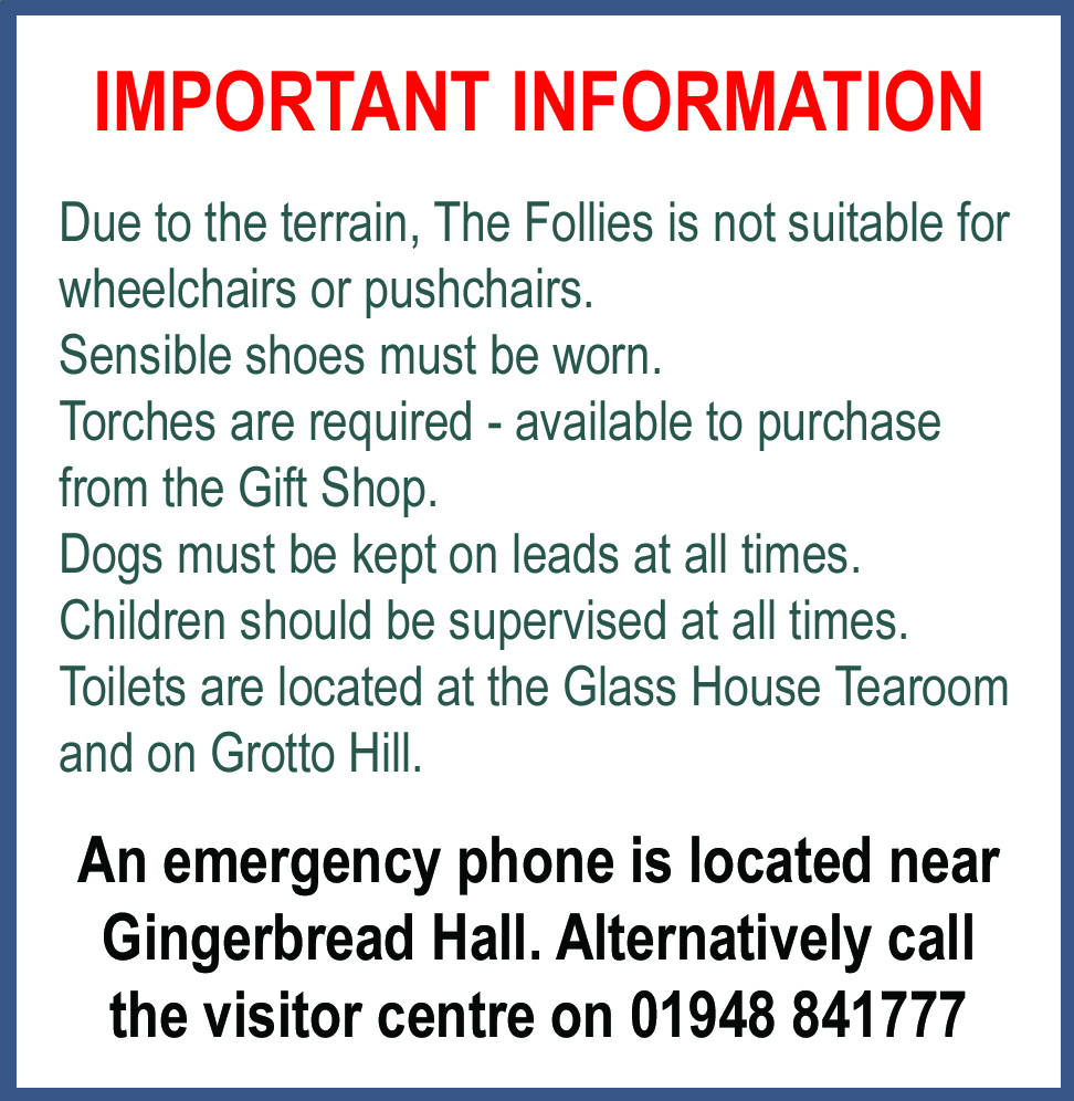 Important visitor information for Hawkstone Park Follies family day out in Shrewsbury